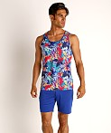 St33le Printed Stretch Mesh Tank Tropical Leaves, view 1