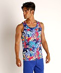 St33le Printed Stretch Mesh Tank Tropical Leaves, view 2