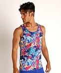 St33le Printed Stretch Mesh Tank Tropical Leaves, view 3