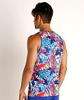 St33le Printed Stretch Mesh Tank Tropical Leaves, view 4