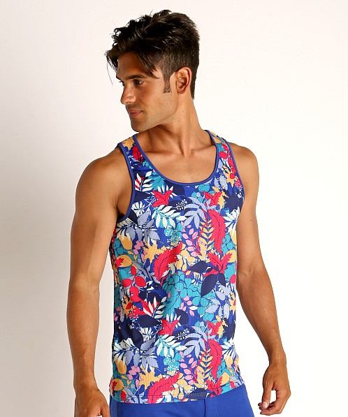 St33le Printed Stretch Mesh Tank Tropical Leaves