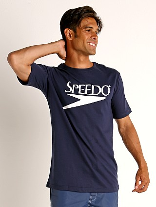 Model in navy Speedo Vintage Logo T-Shirt