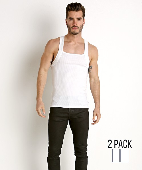 6194ad4823d09 Calvin Klein Cotton Stretch Square Cut Tank Top 2-Pack White NB1719-100 at International  Jock