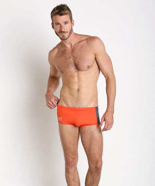 Emporio Armani Color Block Swim Trunk Red Orange