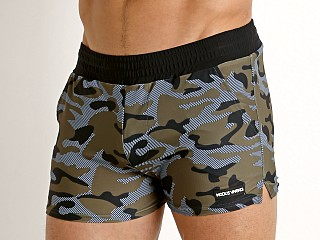 Model in khaki Modus Vivendi Marine Camo Swim Short