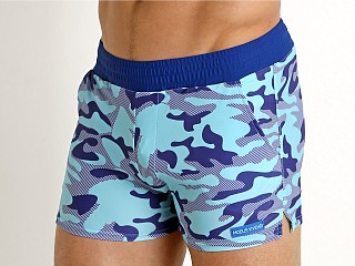 Model in aqua Modus Vivendi Marine Camo Swim Short