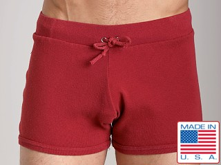Model in cardinal Go Softwear 100% Cotton Hiker Short