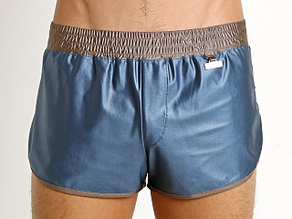 Modus Vivendi Elegant Glossy Side Split Swim Short Blue/Brown