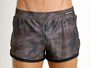 Modus Vivendi Perforated Camo Side Split Swim Short Khaki Camo