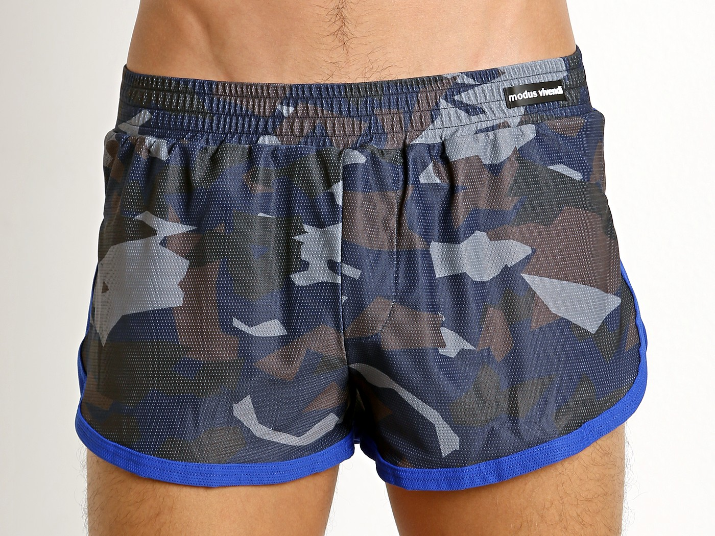 2340617115 Modus Vivendi Perforated Camo Side Split Swim Short Blue Camo S1722 at International  Jock