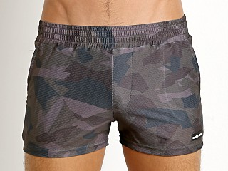 Modus Vivendi Perforated Camo Swim Short Khaki Camo