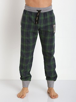 Diesel Varsity Patchboy Lounge Pants Blue Plaid