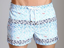 2xist School Of Fish Ibiza Swim Shorts White