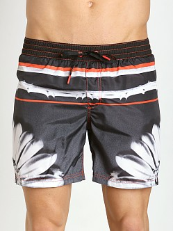 Diesel Flower Stripes Mark Swim Shorts Black