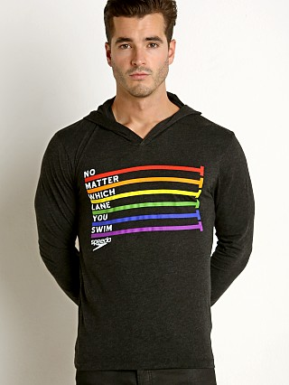 Model in grey/rainbow Speedo Rainbow Pride Hoodie