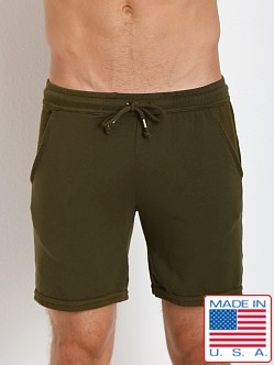 LASC French Terry Cotton/Spandex Sport Lounge Shorts Army