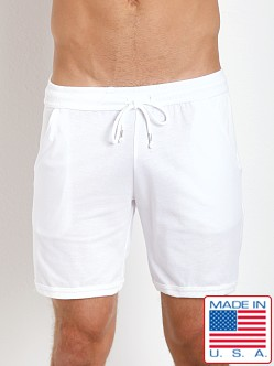 LASC French Terry Cotton/Spandex Sport Lounge Shorts White