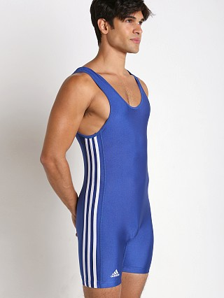 Model in royal/white Adidas 3 Stripe Wrestling Singlet