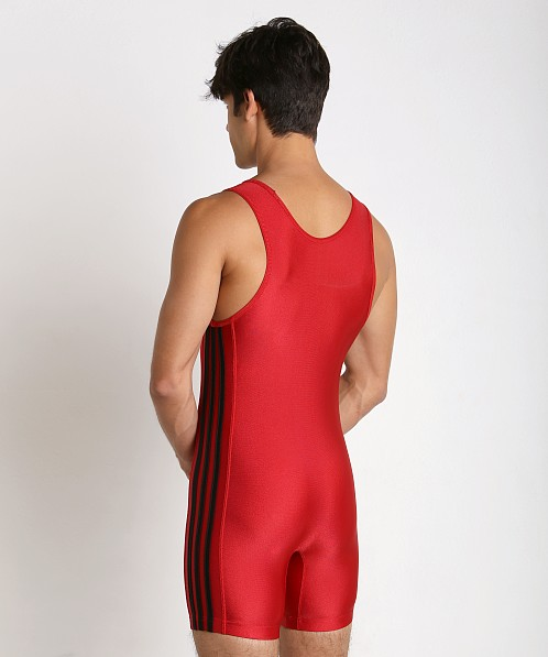 Adidas 3 Stripe Wrestling Singlet Red/Black