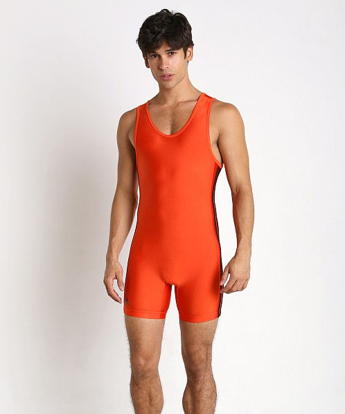 Adidas 3 Stripe Wrestling Singlet Orange/Black