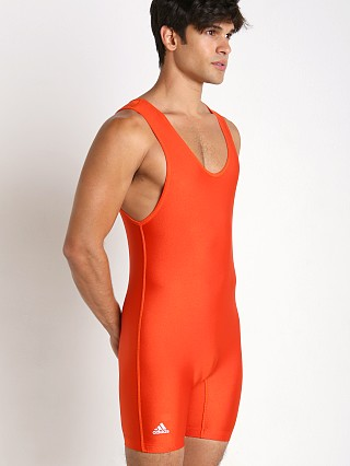 Model in orange Adidas Solid Wrestling Singlet