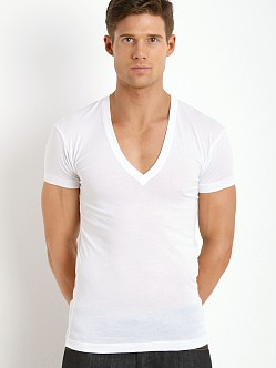 2xist Pima Slim Fit Deep V-Neck Shirt White