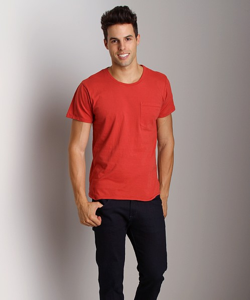 Nudie Jeans Roundneck Pocket Tee Red
