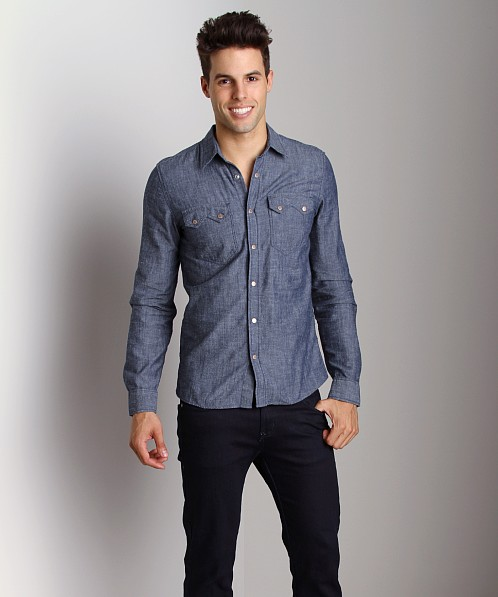 Nudie Jeans Gusten Org Dark Chambray Shirt