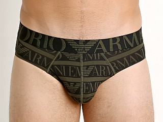 Emporio Armani All Over Logo Brief Military Green