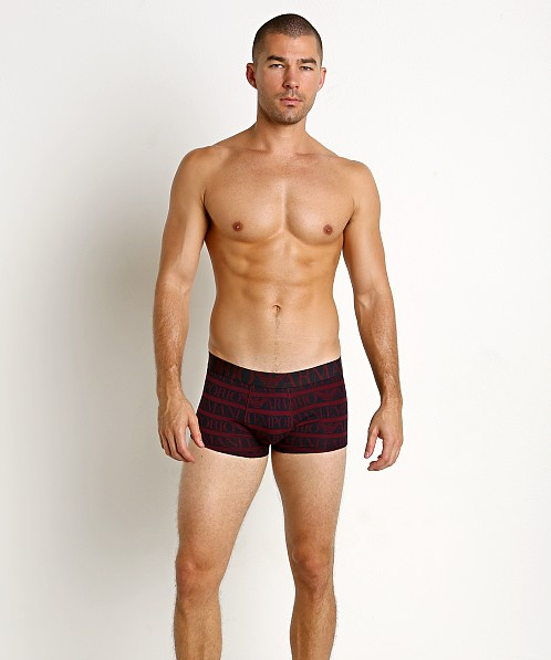 Emporio Armani All Over Logo Trunk Aubergine