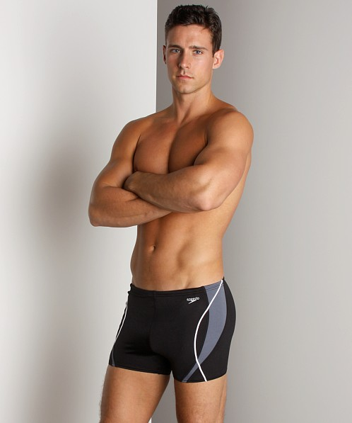 Speedo Optik Splice Square Leg Charcoal/Black