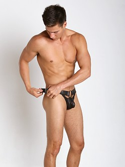 Gregg Homme Hooked Leather-Look and Metal Thong Black