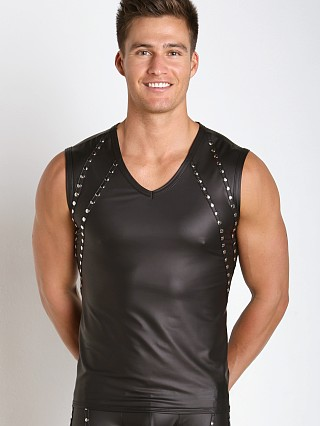 Gregg Homme Lure Leather-Look Muscle Shirt Black