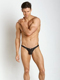 Gregg Homme Two-Timer Leather-Look Hyperstretch Thong Black