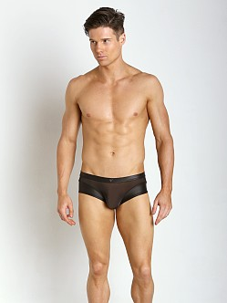 Gregg Homme Two-Timer Leather-Look Hyperstretch Boxer Brief Blac
