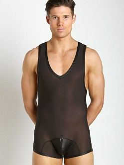 Gregg Homme Two-Timer Leather-Look Hyperstretch Singlet Black