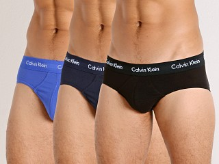 Model in black/blue shadow/cobalt water Calvin Klein Cotton Stretch Wicking Hip Brief 3-Pack Blue Multi