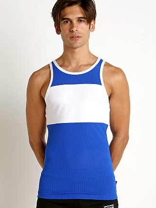 Model in royal Jack Adams Scrimmage Tank Top