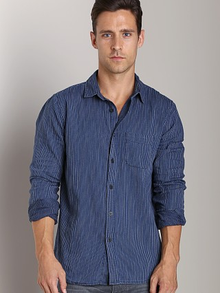 Complete the look: Joe's Jeans Relax Round Pocket Shirt Indigo Stripe