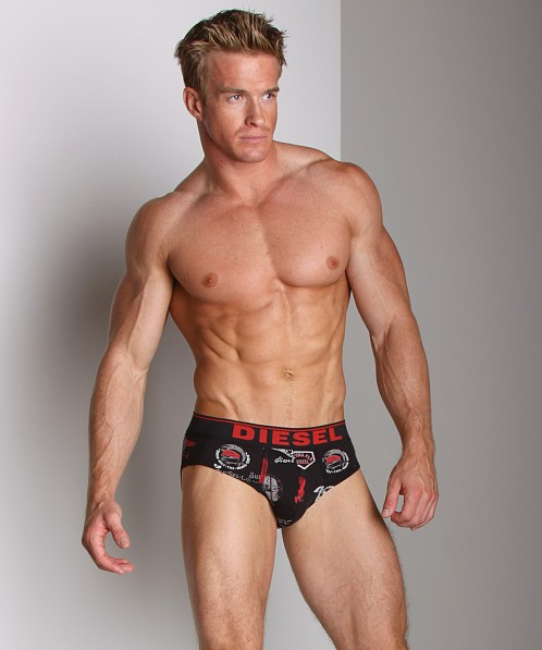 Diesel Cotton Stretch Andre Printed Brief Black