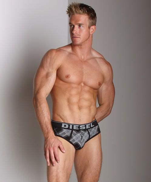 Diesel Cotton Stretch Andre Plaid Brief Black