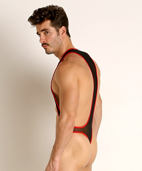 Rick Majors Mesh Thong Bodysuit Black/Red