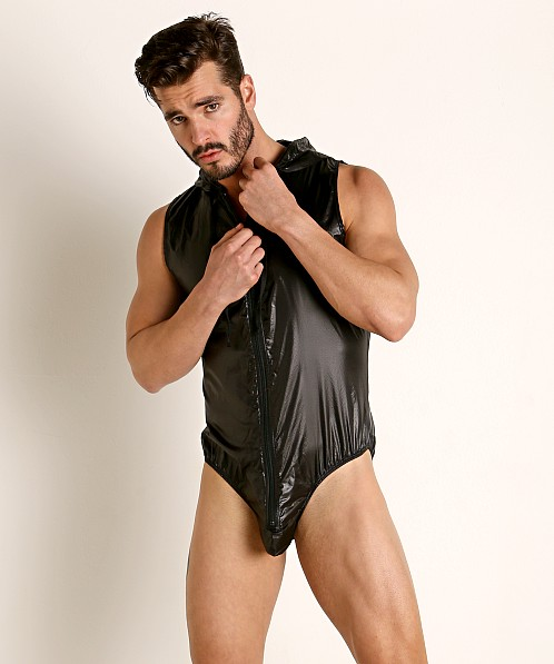 Rick Majors Ripstop Wet Look Hooded Bodysuit Black