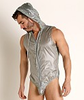 Rick Majors Ripstop Wet Look Hooded Bodysuit Steel, view 3
