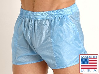 Model in baby blue Rick Majors Ripstop Wet Look Shorts