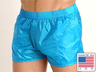 Model in turquoise Rick Majors Ripstop Wet Look Shorts