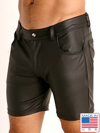 Model in black Rick Majors Dark Mode Zippered Back Shorts