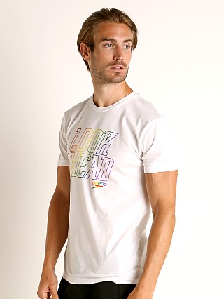 Model in white/rainbow Speedo Look Ahead Rainbow Pride Tee