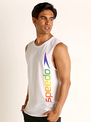 Model in white/rainbow Speedo Rainbow Pride Muscle Shirt