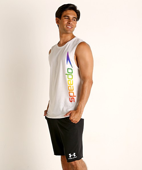 Speedo Rainbow Pride Muscle Shirt White/Rainbow